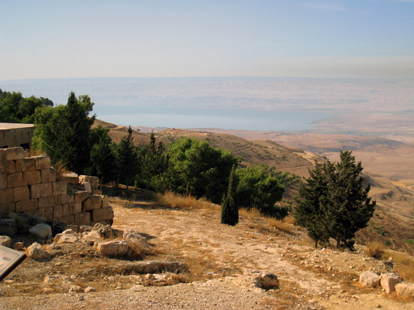 Mt. Nebo in Jordan, from which Moses viewed the Promised Land before dying